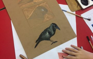 Drawing of a raven