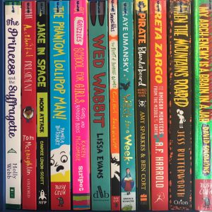 Photo of book spines for Key Stage 2
