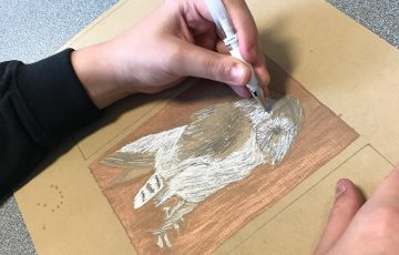 Picture of a child drawing an owl