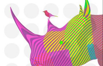 Photo of a pop art style Rhino and Bird